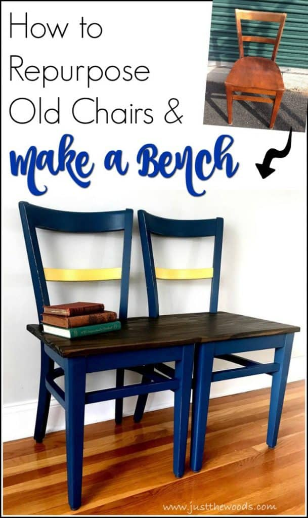You can make a DIY bench from chairs with a few easy steps. Old chairs laying around? Repurpose those old chairs and build a bench. DIY bench from vintage chairs #DIYbench #handmadebench #buildabench #chairbench #benchfromchairs #DIYwoodenbench #howtobuildabench #howtomakeabench #diywoodbench #diybenchseat