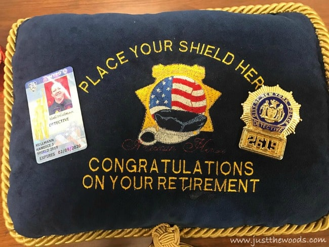 nypd retirement pillow, detective shield