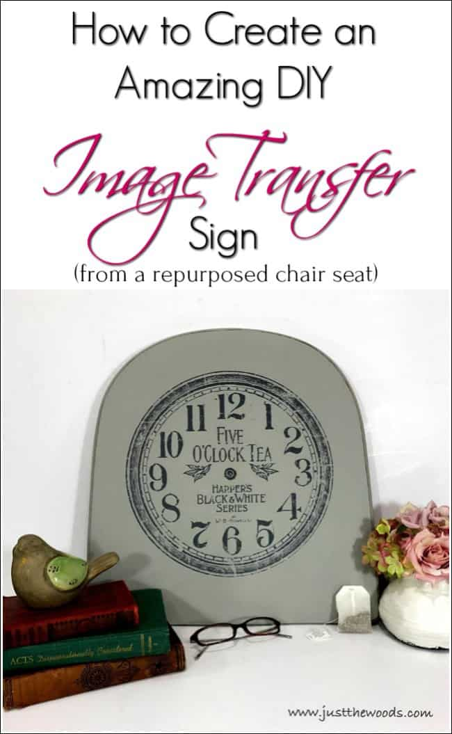 transfer image to wood, image transfer sign, diy sign, repurpose chair seat,