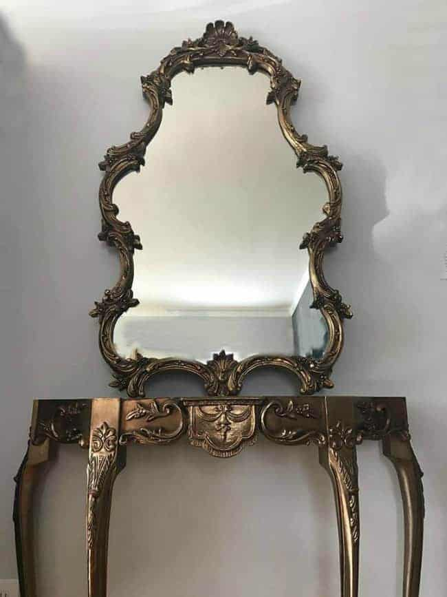 rococo style mirror, ornate mirror, how to paint a mirror, vintage mirror