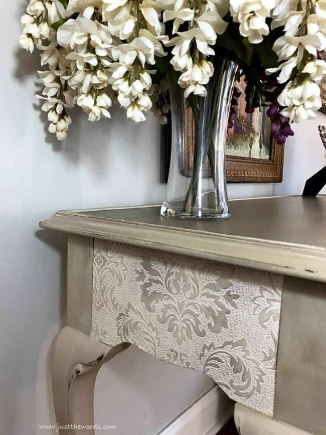 damask wallpaper, decoupage wallpaper, painted table, elegant painted sofa table