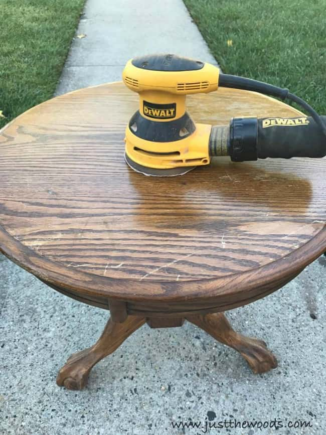 sand oak table, dewalt orbital sander, prep painted furniture