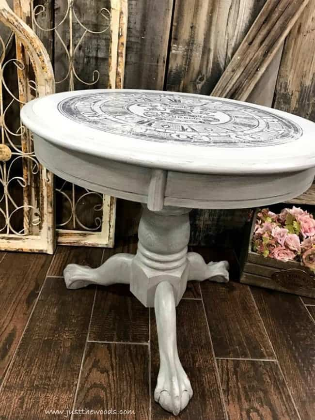 iod image transfers, gray painted furniture, glaze on painted furniture, image transfer, how to image transfer, graphics to wood