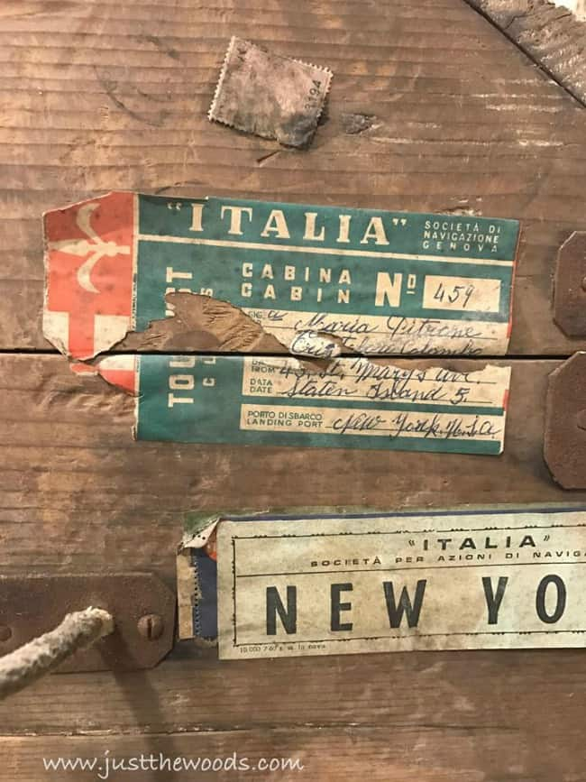 italy labels, steamer trunk labels, new york travel labels, travel trunk