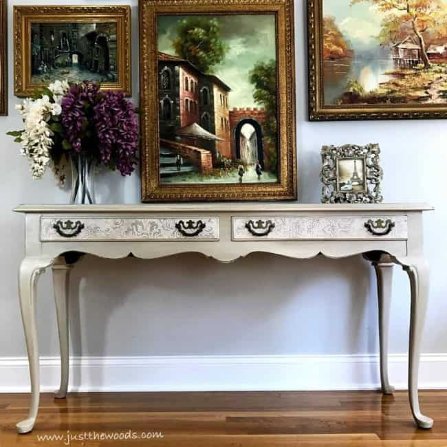 painted sofa table, pearl painted table, cream painted sofa table, chalk painted table