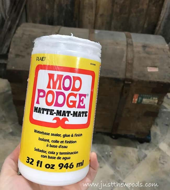 mod podge, glue, craft glue, restore labels, steamer trunk restoration