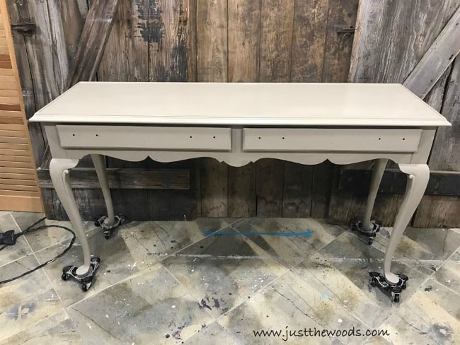 cream chalk paint, painted sofa table, painted table, chalk painted table