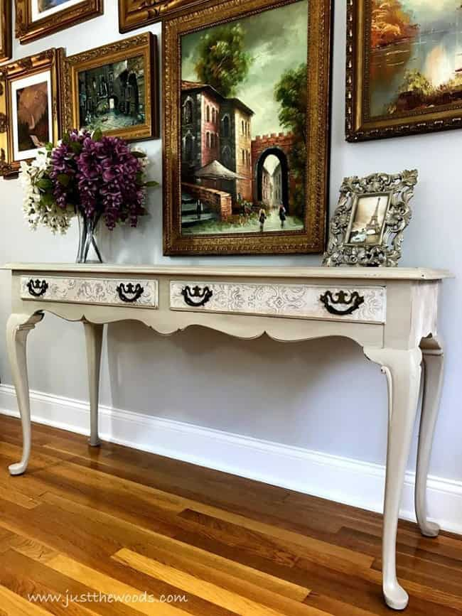 damask print on drawers, decoupaged drawers, painted table, long wood table