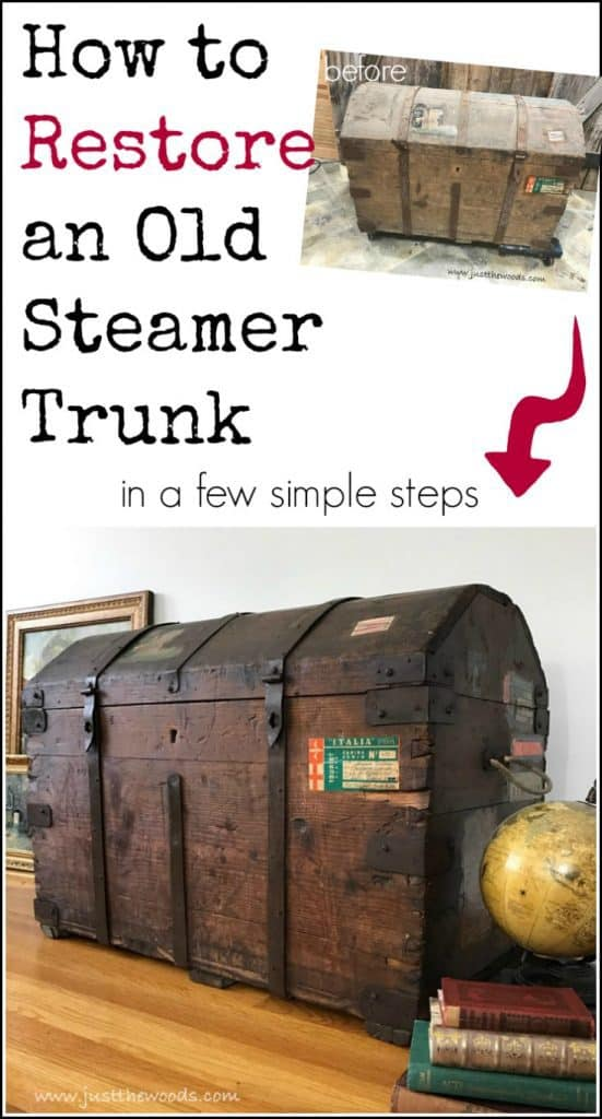 restore steamer trunk, steamer trunk restoration, wise owl