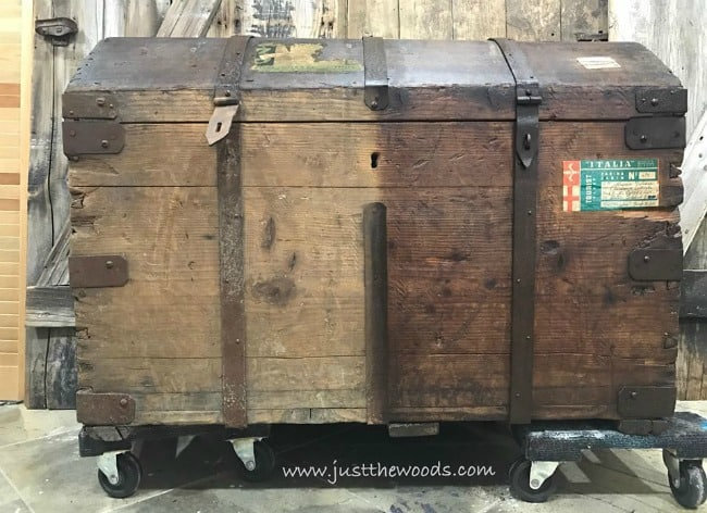 before and after, antique steamer trunk restoration, how to restore a vintage wood trunk