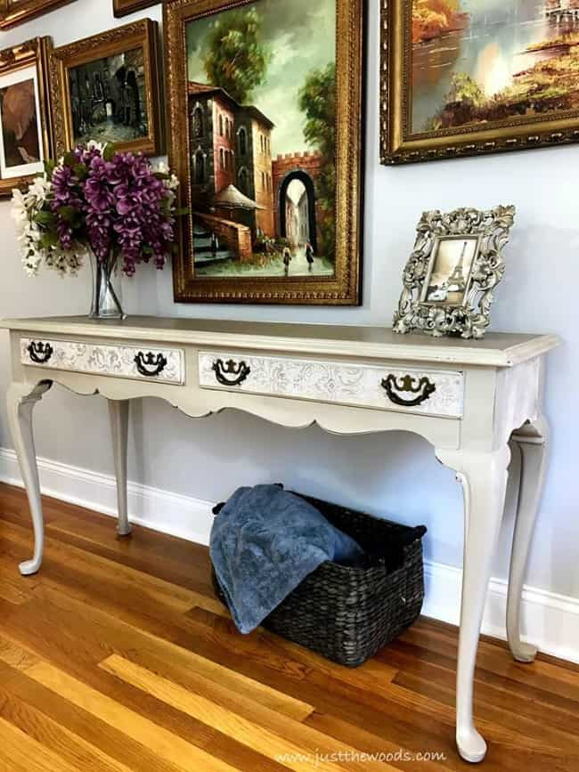 long painted table, painted sofa table, painted console table, painted french provincial furniture