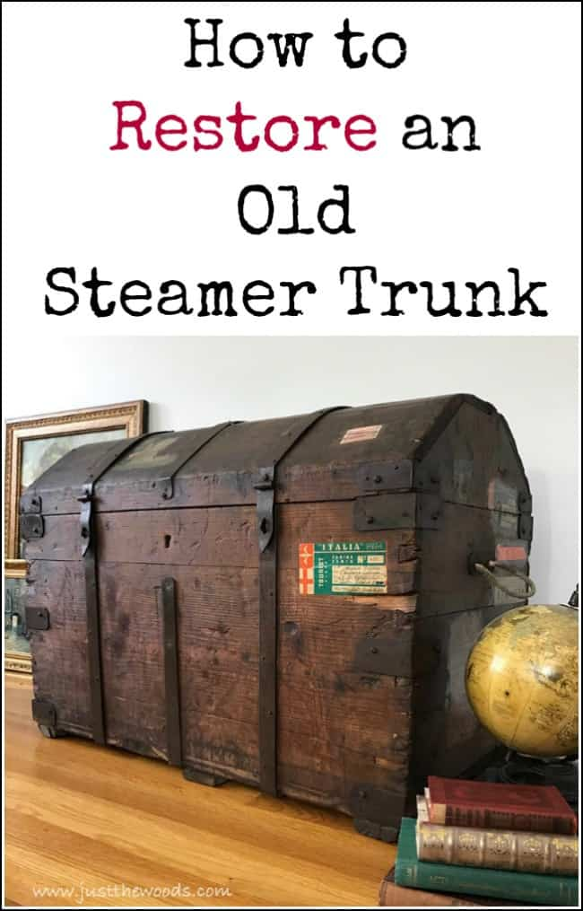 Steamer trunk restoration project, remove mildew odor, secure old labels and learn How to Restore an Old Steamer Trunk in a Few Simple Steps. #steamertrunk #trunkrestoration #howtorestoreanoldtrunk #restoringoldtrunks #antiquetrunkrestoration #howtocleananoldsteamertrunk #refinishedtrunk #steamertrunk #removemildewodor #removeodor