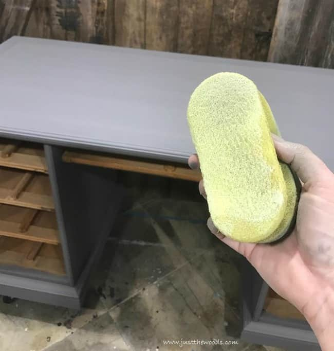 apply clear sealer, yellow sponge, gray painted desk