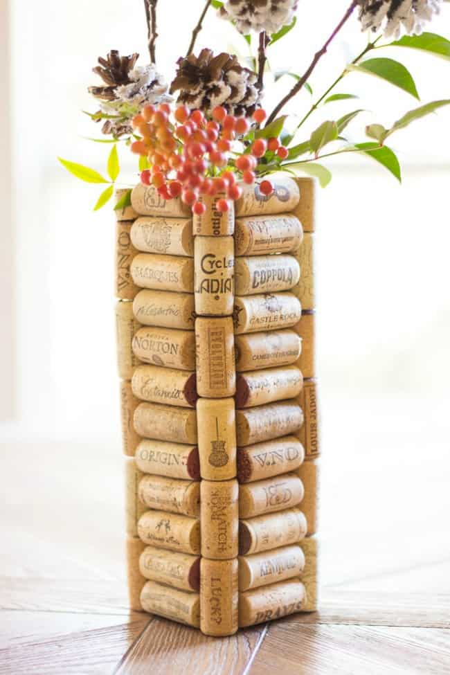 gift ideas for wine lovers, cork vase, gifts for the wine lover, diy wine lover gift, wine lovers