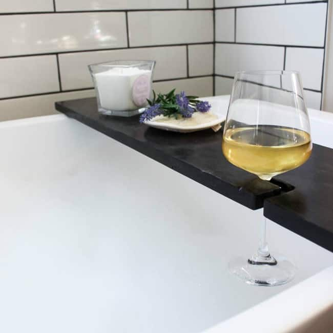 wine in bath, wine table for bathtub, wine lovers