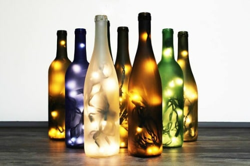 wine bottle lights, handmade wine gift, unique wine lover gift