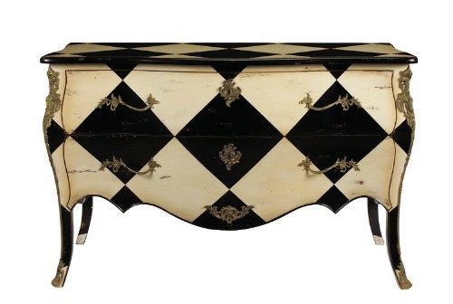 bombe chests, diamond pattern furniture, bombe chest for sale, harlequin bombay commode,