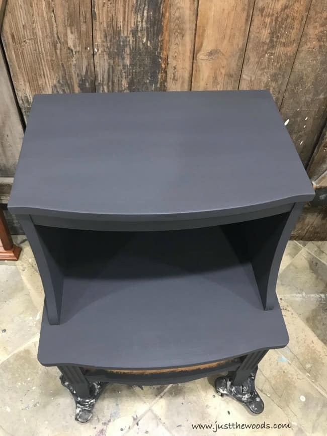 charcoal gray painted table, graphite chalk paint, gray painted table