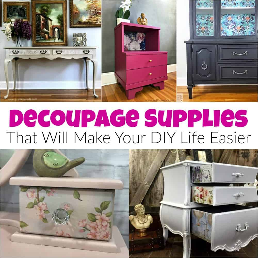 how to decoupage furniture, decoupage supplies