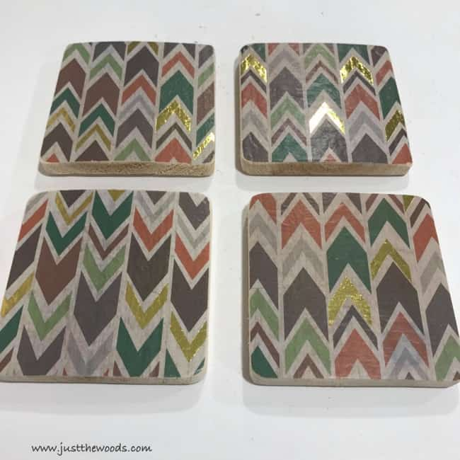 how to make coasters, wood coasters, diy coasters, decoupage tissue