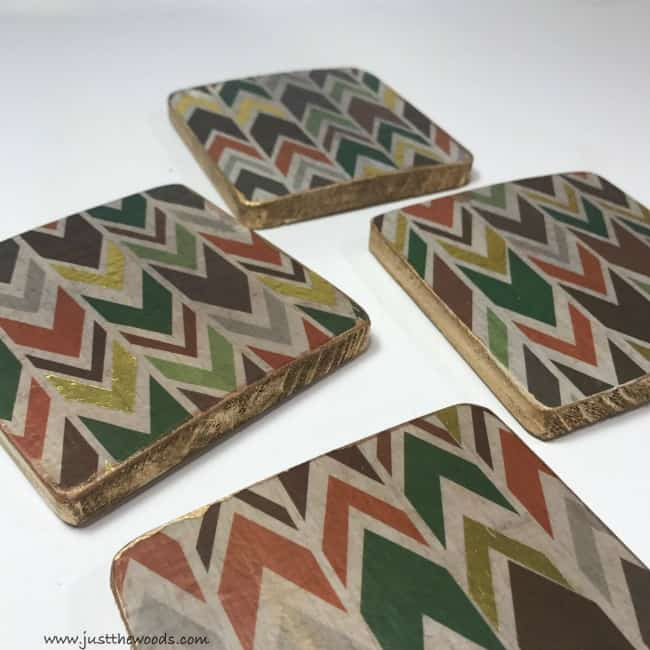 arrow decoupaged coasters, diy coasters, diy wood coasters, homemade coasters