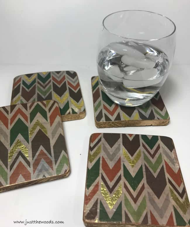 how ot make coasters, easy diy coasters, decoupaged coasters, gold leaf coasters
