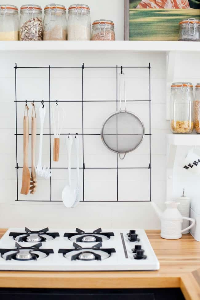 diy wire utensil rack, diy kitchen projects, kitchen organizing