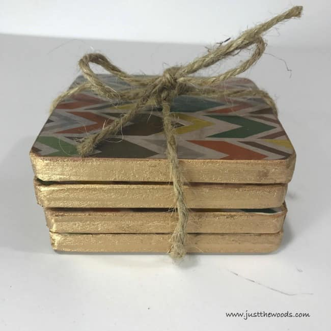 diy coasters, gold lead trim coasters, handmade coasters, wood coasters