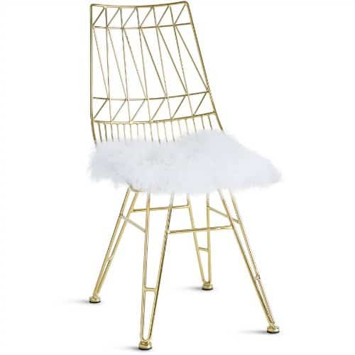gold and white chair, metallic gold chair, sheepskin seat, hollywood glam chair