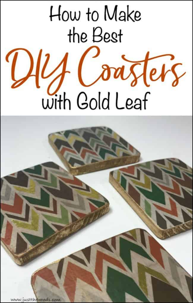 diy coasters, how to make coasters, how to gold leaf coasters, decoupage coasters