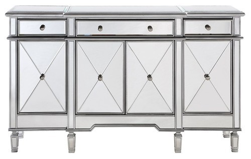 mirrored furniture, mirrored buffet, glam sideboard