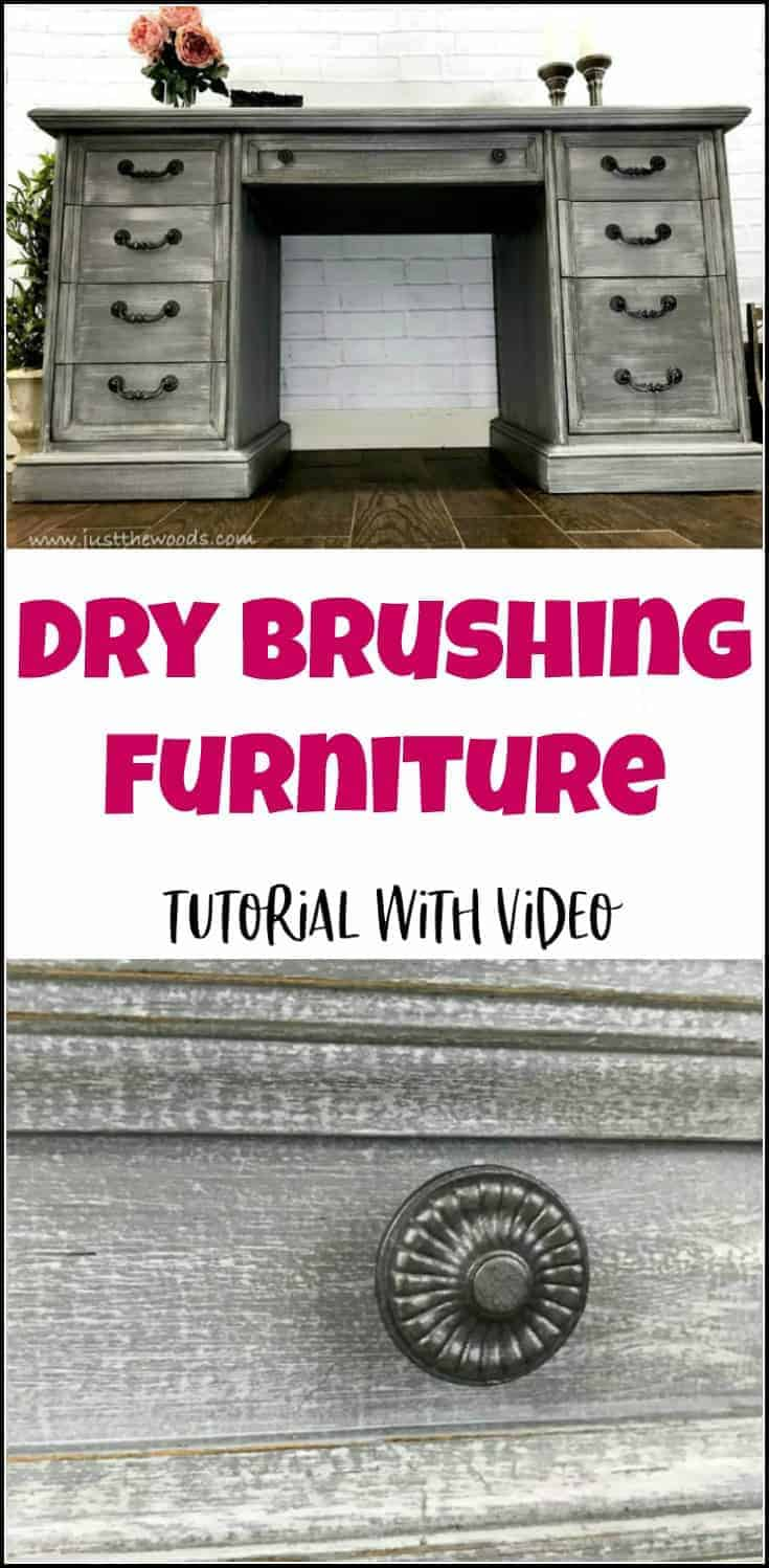 Dry brushing furniture tutorial with video. Dry brushing is the easiest furniture painting technique. Get a gorgeous dry brushed painted furniture finish. #howtopaintfurniture #howtodrybrush #furniturepaintingtechniques #drybrushing #furniturepainting #painteddesks #paintedfurnitureideas