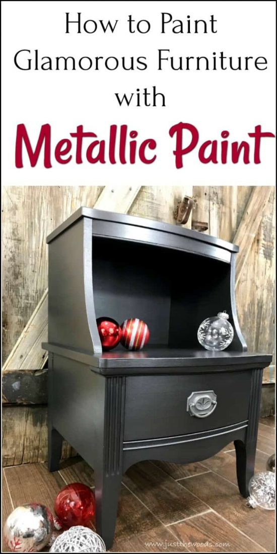 How to Paint Glamorous Furniture with Metallic Paint. Vintage table painted furniture makeover using silver metallic furniture paint. #paintedtable #paintedfurnitureideas #metallicpaintforfurniture  #metallicpaintedfurniture #howtopaintmetallicfurniture #silvermetallicpaintedfurniture #vintagefurniturepainted #chalkpaintedfurniture #paintedmetallicfurniture #silvermetallicpaint #howtopaintmetallicfurniture