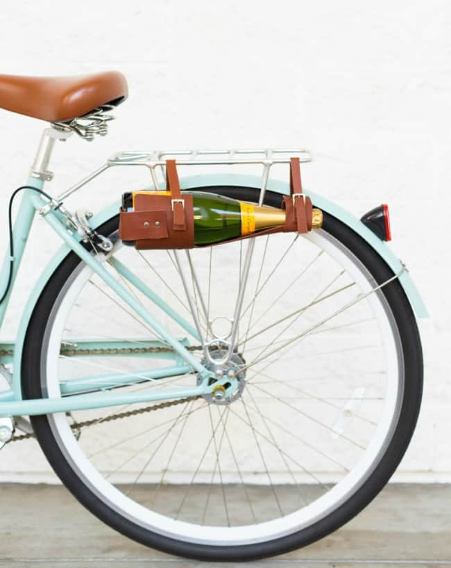 leather wine case, diy wine carrier, carry wine on bike, wine lovers