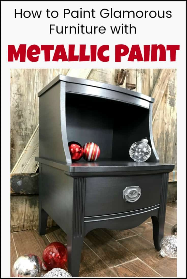 Vintage table painted furniture makeover using silver metallic furniture paint. #paintedtable #paintedfurnitureideas #metallicpaintforfurniture #metallicpaintedfurniture #howtopaintmetallicfurniture #silvermetallicpaintedfurniture #vintagefurniturepainted #chalkpaintedfurniture #paintedmetallicfurniture #silvermetallicpaint #howtopaintmetallicfurniture
