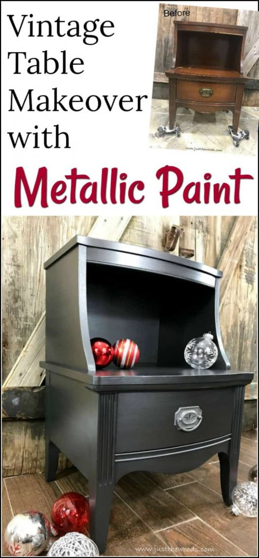 How to Paint Glamorous Furniture with Metallic Paint. Vintage table painted furniture makeover using silver metallic furniture paint. | painted table | painted furniture ideas | metallic paint for furniture | metallic painted furniture | how to paint metallic furniture | silver metallic painted furniture | vintage furniture painted | chalk painted furniture | painted metallic furniture | silver metallic paint | how to paint metallic furniture |