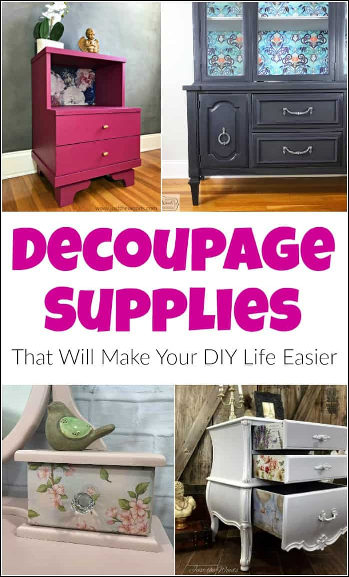 Decoupage Supplies. When you want to know where to find decoupage supplies and what you need for decoupage projects. Decoupage materials found online. #decoupage #decoupagesupplies #tissuedecoupage #wheretobuydecoupagetissue #decoupageglue #decoupagenapkins #decoupagefurniture