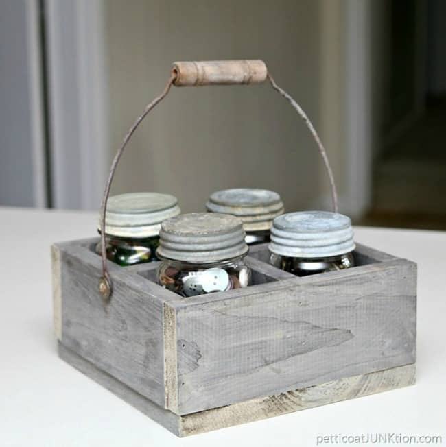 mason jar caddy, woodworking project, small woodworking projects