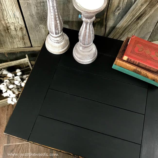 planked farmhouse painted table, painting a farmhouse table, black distressed furniture