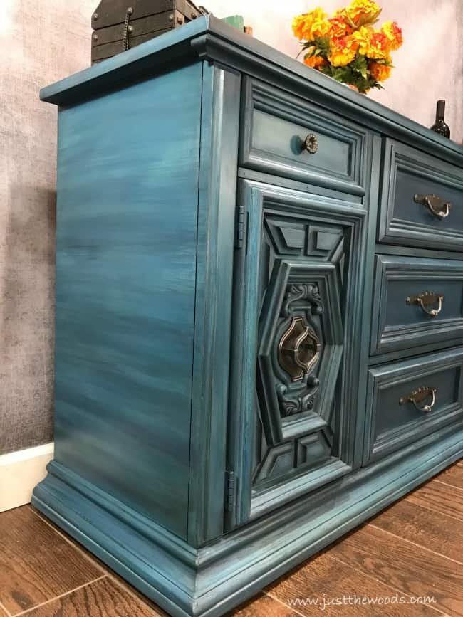 blue buffet, blue painted furniture, painted layers on furniture, how to paint layers, how to layer paint