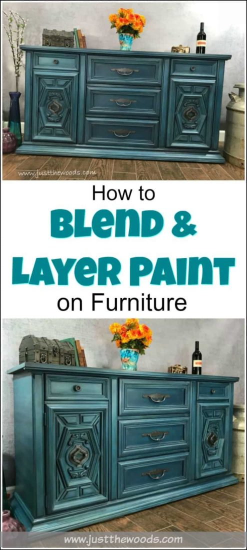 How to Blend & Layer Paint for Amazing Results on your painted furniture projects. Learn the furniture painting technique of blending and layering multiple colors while painting furniture to achieve a gorgeous finish. Layered painting techniques are truly one of a kind. #furniturepaintingtechniques #layeredpaintingtechnique #howtolayerpaintonfurniture #layerpaint #howtoblendchalkpaint #bluepaintedfurniture #bluepaintedfurnitureideas