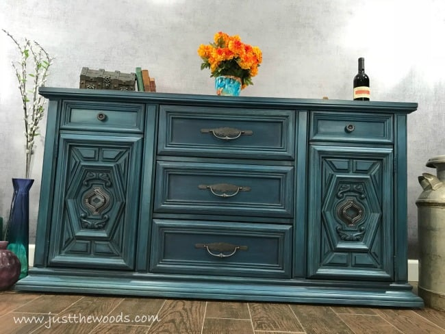 how to layer paint on furniture, layered painting technique, metallic furniture appearance, blue buffet, chalk painted buffet, blue sideboard