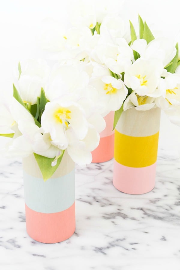 diy vases, color blocked vases, color block crafts, stripes vases, painted vases