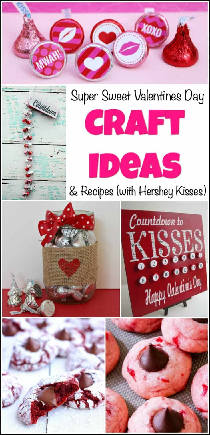 craft ideas, valentines day crafts, crafts with hershey kisses, valentines day cookies