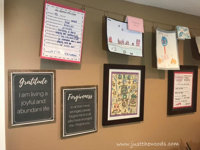 kids art, affirmations, diy picture frames, display art, wooden frame