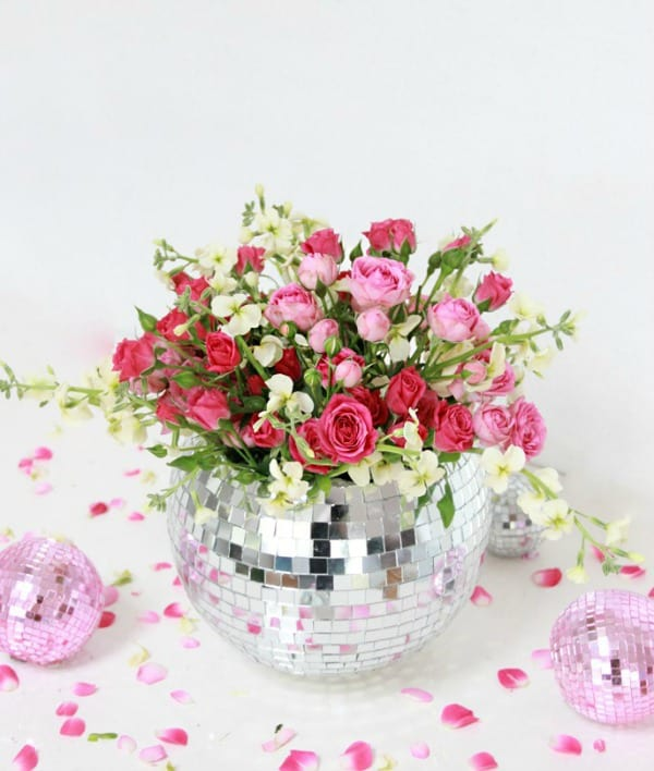 diy vases, disco ball vase, diy vase, diy vase craft, homemade flower vase