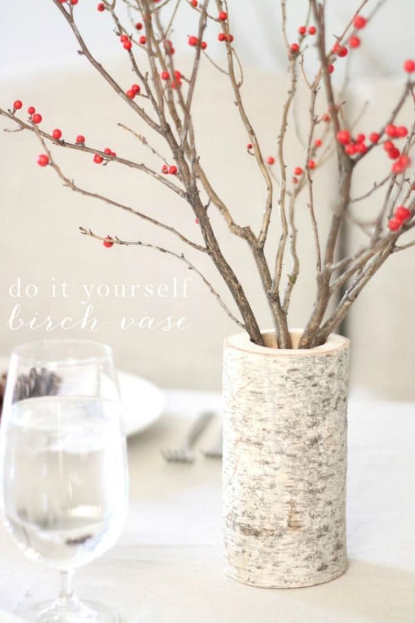 diy vases, how to make a vase from birch, birch tree vase, diy tall vase