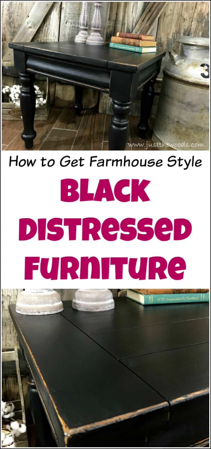 Get farmhouse style black distressed furniture with black chalk type paint and black sealer. Distressed black painted furniture is the perfect black finish for any home style. | black distressed | black painted furniture | distressed black | farmhouse | painted furniture | farmhouse black | distressed black furniture | black chalk painted furniture |
