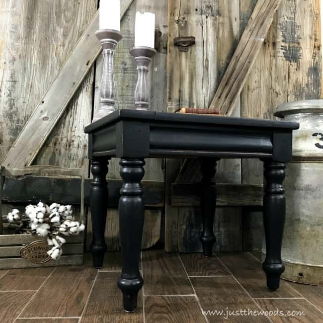 round farmhouse table legs, painted black furniture, black distressed furniture
