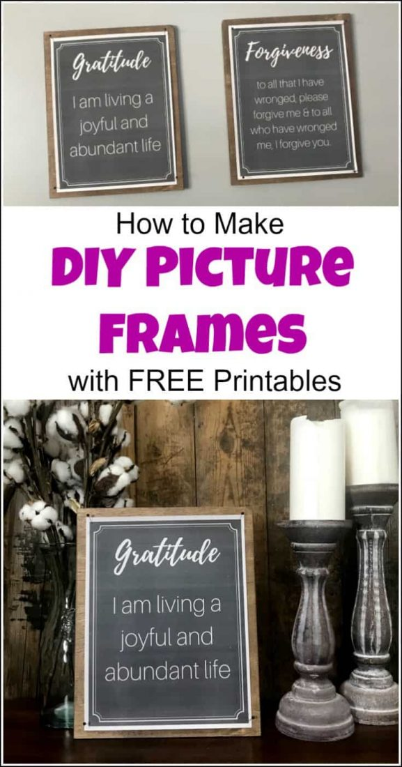 How to Make a DIY Picture Frame for art prints with FREE printables. Positive Affirmation Printables look great in this easy DIY frame for art display. | DIY picture frame ideas | DIY photo frame | DIY frames | Diy picture frames | picture frame DIY | free printables | positive affirmations | affirmation printables | DIY frame ideas | DIY picture frame ideas | display art prints |